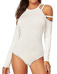 Verdusa Women's Cold Shoulder Long Sleeve Halter Jumpsuit Bodysuit
