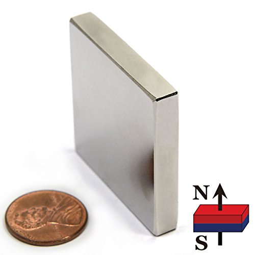 """Grade N52 1-1/2"""" x 1-1/2"""" x 1/4"""" Block, Package of 1 Rare Earth Neodymium Magnet - For Hobby, Science and Industry - Rectangle Rare Earth Magnet"""