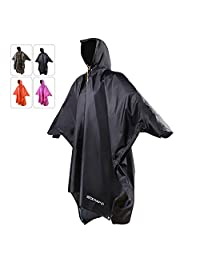 REDCAMP Waterproof Rain Poncho with Hood and Arms for Camping Hiking, 3 in 1 Multifunctional Lightweight Reusable Raincoat Poncho for Men Women Adults, Dark Navy