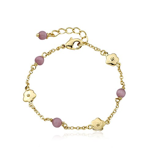 Little Miss Twin Stars Cat Eye 14k Gold-Plated Bracelet with Flowers and Pink Little Miss Twin Stars Cat Eye Balls,, 5.5