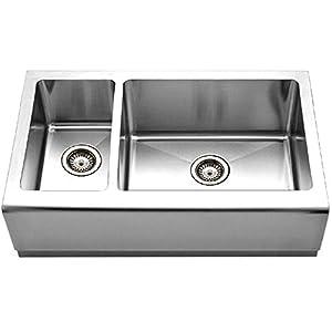 Houzer EPO 3370SL Epicure Series Apron Front Farmhouse Stainless Steel  70/30 Double Bowl Kitchen Sink, Small Bowl Left