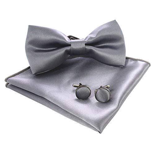 Bow Tie Pocket - JEMYGINS Mens Silver Pre-tied Bow Tie and Pocket Square Cufflink Set (14)