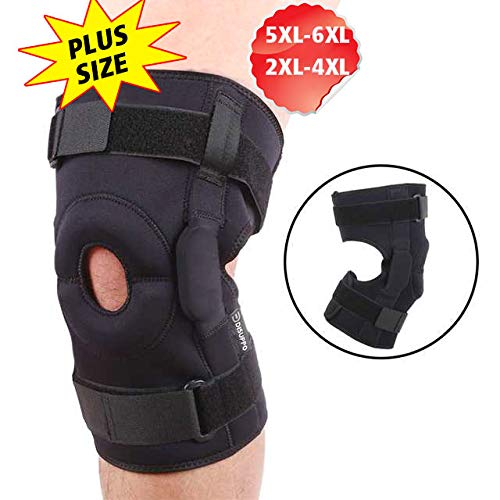 DISUPPO Maximum Knee Support, Large Plus Size Knee Brace with Open Patella Hinged Stabilizer, Support Compression for Arthritis, Meniscus Tear, Knee Stability & Recovery, Men, Women (Hinge, 5XL)