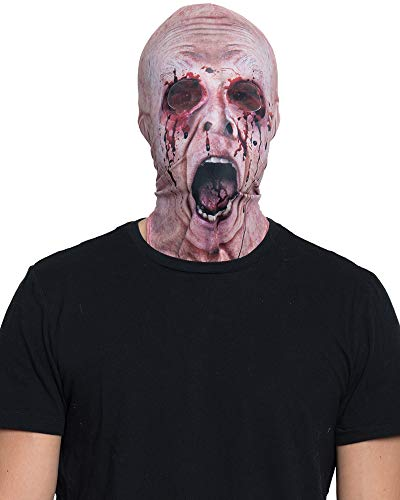 Funny Halloween Photos (Faux Real Unisex-Adult's Halloween 3D Photo-Realistic Full Fabric Face Mask, Missing Eyes, One Size Fits)