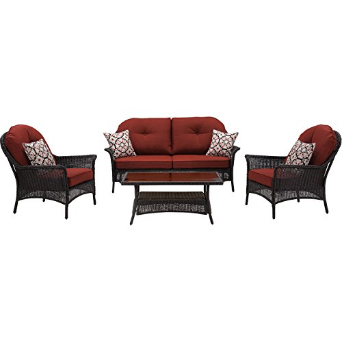 Hanover San Marino 4-Piece Patio Set Crimson Red SMAR-4PC-RED