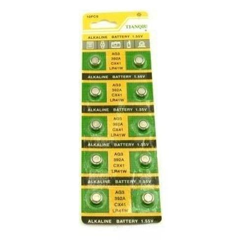 10 of AG3/LR41 Alkailine Button Cell Watch Battery