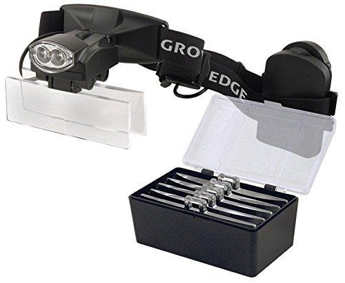 Grower's Edge LED Headband Magnifier with 5 Lenses (1.0x - 1.5x - 2.5x - 3.0x - 3.5x)