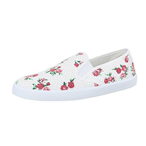 Ital-Design Slipper Damen Schuhe Low-Top Leichte Halbschuhe Weiß Multi
