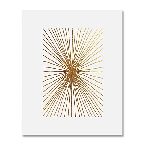 Burst Foil - Burst Lines Gold Foil Art Print Abstract Hand Drawn Metallic Poster Geometric Modern Art Contemporary Wall Decor 8 inches x 10 inches B23