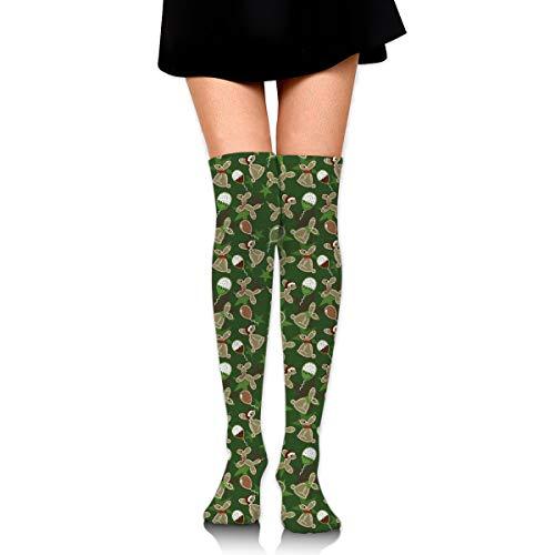 X-PEACH Balloon Animal Holiday Cookies Women Men Long Striped Socks Over Knee Thigh High Socks Stocking