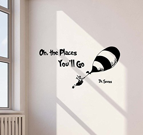 Oh The Places You'll Go Dr Seuss Quote Wall Decal Hot Air Balloon Disney Cartoon Lettering Boy Girl Gift Stencil Vinyl Sticker Home Kids Playroom Bedroom Decor Art Poster Mural Custom Print 463