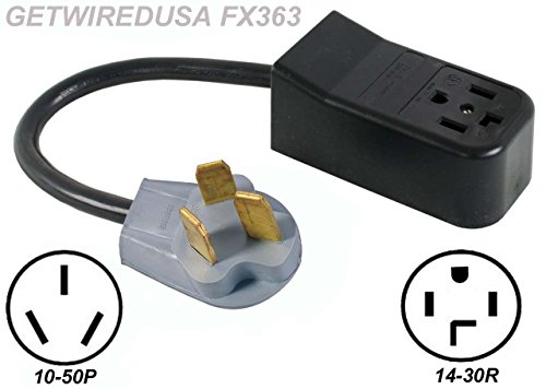 (NEW FEMALE 14-30R 4-PRONG RECEPTACLE to OLD MALE 10-50P 3-PIN PLUG RANGE / STOVE / OVEN / DRYER ADAPTER 220 HOME APPLIANCE POWER CORD WIRE CONVERTER 50A-125/250V. GETWIREDUSA FX363)