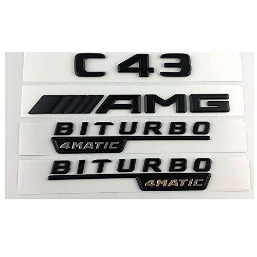 Black C43 AMG BITURBO 4MATIC Trunk Fender Badges Emblems for Benz