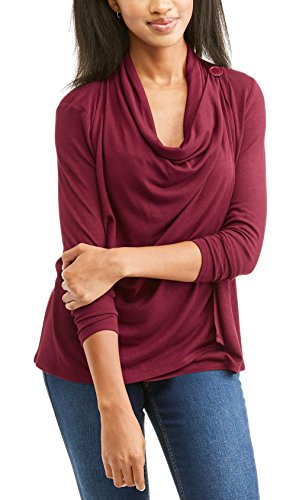 Faded Glory Women's Single Button Wrap Cardigan Sweater (M, Merlot Wine)