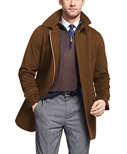 Brooks Brothers Men's Three Layer BrooksStorm 100% Wool Full Zip Walking Coat Jacket Camel Beige (Medium) from Brooks Brothers