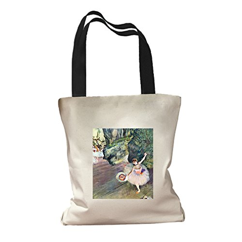 Dancer Bouquet Star Ballet (Degas) Canvas Colored Handles Tote Bag - Black (Degas Bag Ballet)