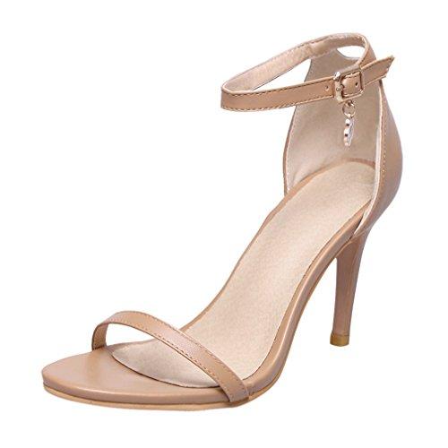 YE Women's High Stiletto Heel Ankle Strap Mary Jane Court Shoes Open Toe Sandals Beige