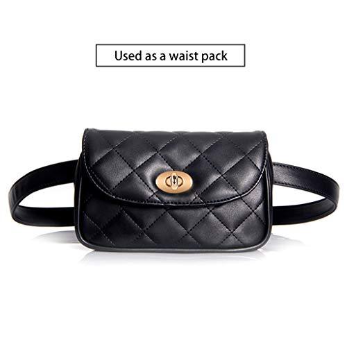 Cross Black Plaid Fanny Belt Leather Grey Fashion Bag for Badiya Mini Pack Multifunction Women Waist Bumbag Body Quilted qOnawSZ