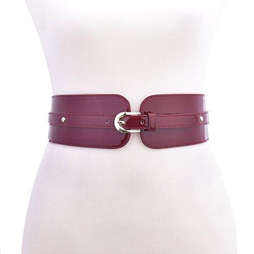 Talleffort Wide Metal Belt Buckle Elastic Waist Belt For Women (29in-40in, Red)