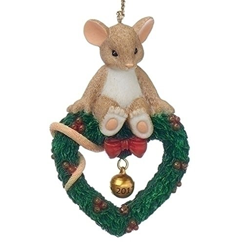 (Roman Charming Tails 130448 Mouse on Wreath Ornament Dated 2017 Multicolored)