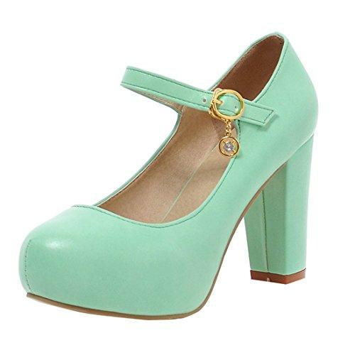 YE Damen Mary Jane Ankle Strap Pumps Rockabilly Blockabsatz High Heels Plateau mit Riemchen und 9cm Absatz Elegant Schuhe Grün