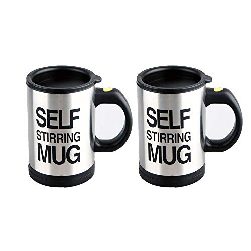 CUGBO 2 PCS Self Stirring Mug Automatic Mixing Cup Stainless Steel Electric Rotating Functional Coffee ()