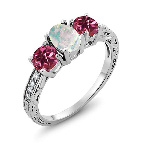 Gem Stone King 1.75 Ct Oval Cabochon White Simulated Opal Pink Tourmaline 925 Sterling Silver Ring (Size 7)
