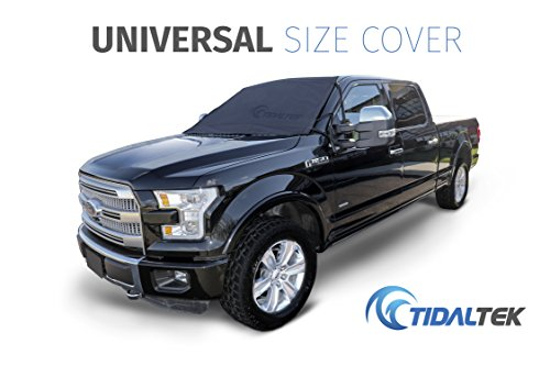 TidalTek 2018 Quick-Fit Universal Car and Truck Windshield Snow and Ice Cover - Ultra-Durable, Secure, Premium Weatherproof Design for Windshield, Wipers and Engine-Well