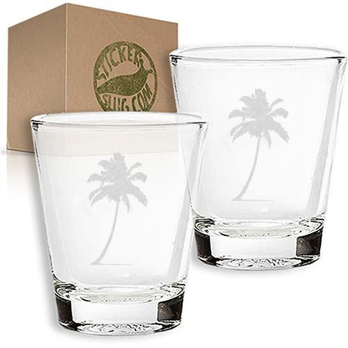 STICKERSLUG Palm Tree Etched Engraved Shot Glass Set