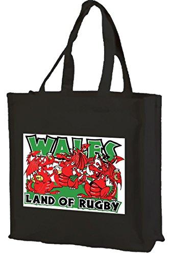 Dragon Wales of shopping Cotton bag Rugby Black Welsh Land wRrx1qaIR