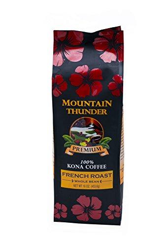 100% Kona Coffee - Value - Whole Bean - French Roast - 16 Ounce Bag - by Mountain Thunder Coffee Plantation