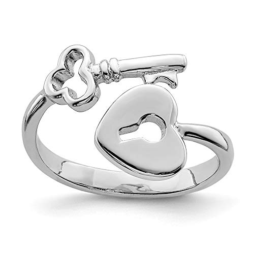 Black Bow Jewelry Rhodium Plated Sterling Silver Heart Lock and Key Bypass Toe Ring