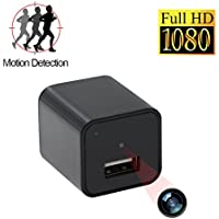 Mini Camera HD 1080P USB Wall Charger Camera Nanny Home Security Surveillance Camera Motion Detective Loop Recording With 32GB Internal Memory-Updated Version