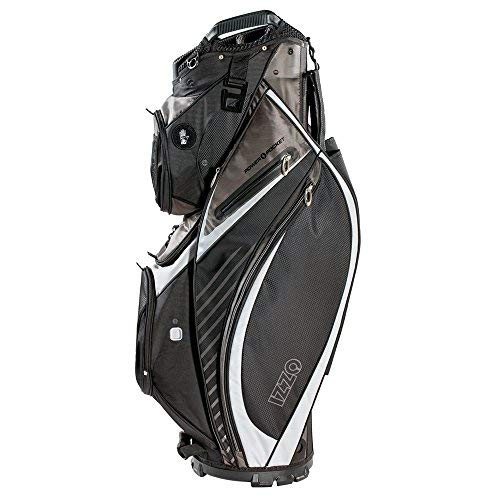 IZZO Golf Izzo Gemini Cart Golf Bag - Black, Red, Green or Blue - Golf cart Bag, Golf Club cart Bag, Magnetic Ball Pockets and has Large Beverage Cooler, Black/Grey