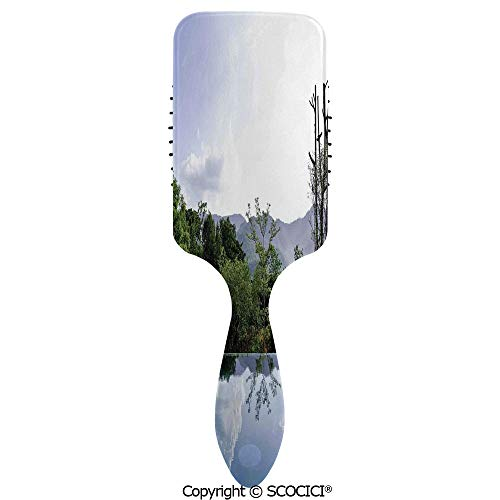 Hair Brush with Air Cushion Combs Cloud and Tree Reflections on the Pool Forest Distant Hills Getaway for Scalp Massage Anti-static, No Hair Tangle ()