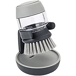 Soap Dispensing Palm Brushes Kitchen Cleaning,Plastic Hand-held Cleaning Brush with Storage Container Stand for Bottle Pot Dish Bowl Kitchen Accessories Tool (Grey)