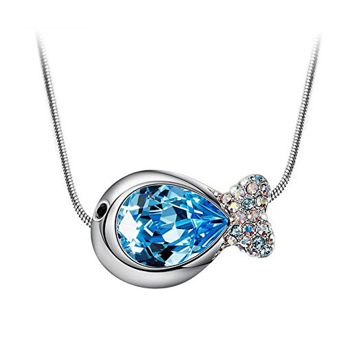 Yuriao Jewelry Platinum Plated Crystal Clown Fish Pendant Necklace (blue)