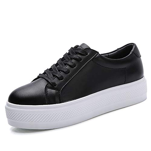 Comfort Blanco Nappa Fall Zapatos Leather de Black Negro Winter ZHZNVX Sneakers Mujer up Lace Pw0Atx