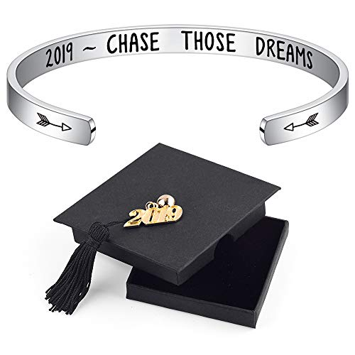 IEFSHINY 2019 Graduation Gift Cuff Bracelet - Inspirational Quote Mantra Stainless Steel Cuff Bangle Bracelet College Graduation Gifts for Her, Graduation Encouragement Gift for Women
