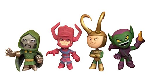 Villains Bundle 4 Items: Funko Marvel Mystery Minis: Loki, Galactus, Doctor Doom, Green Goblin