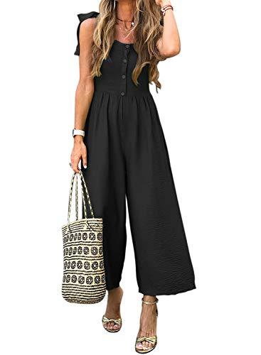 ZKESS Women Summer Casual Button Down Short Sleeve Solid Wide Leg Jumpsuit Romper Sleeveless Long Pants Black Large Size