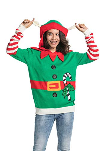 Unisex Men's Knit Christmas Ugly Sweater Hoodie Funny Knitted Elf with Bell Pullover Sweatshirt - Elf Encounters, X-Large
