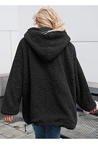Outwear Pelo Giacche Le Largo In Black Fuzzy Maglione Outcoat Donne Finto Sevozimda Felpa Cappotti Di nBUXUw