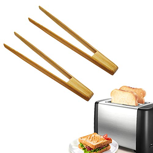HOSIMAY Bamboo Kitchen Toaster Tongs, 9.6'' Natural Premium Wood Tongs for Cooking, Chef Tool Suitable for Bagel, Toast, Cake, Bacon, Muffin, Bread, Chicken, Reusable