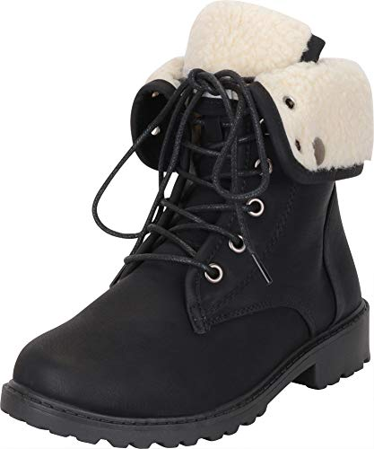 Cambridge Select Women's Foldover Cuff Faux Shearling Lined Lace-Up Lug Sole Ankle Boot,7 M US,Black Pu