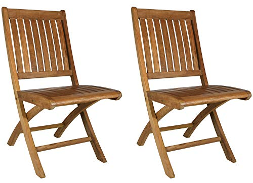 - Teak Wood Santa Barbara Folding Outdoor Patio Dining Side Chair (Set of 2)
