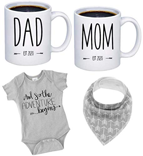 Pregnancy Gift Est 2020 - New Mommy and Daddy Est 2020 11 oz Mug Heart Set with