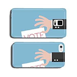 Hand of businessman vote ballot with box. Vector illustration. cell phone cover case Samsung S5