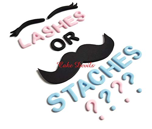 LASHES OR STACHES Gender Reveal Handmade Edible sugar Fondant Cake Decorations]()