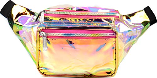 SoJourner Holographic Rave Fanny Pack - Packs for festival women, men | Cute Fashion Waist Bag Belt Bags (Gold & Pink -